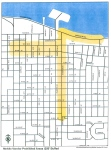 Mobile food vendors are prohibited from setting up operations in the areas marked in yellow. The area marked along Seminole Boulevard (closest to Lake Monroe) is currently not a prohibited zone, but is being considered by the Sanford City Commission