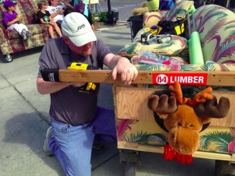 Robert Brinkerhoff makes repairs to the Elks sofa