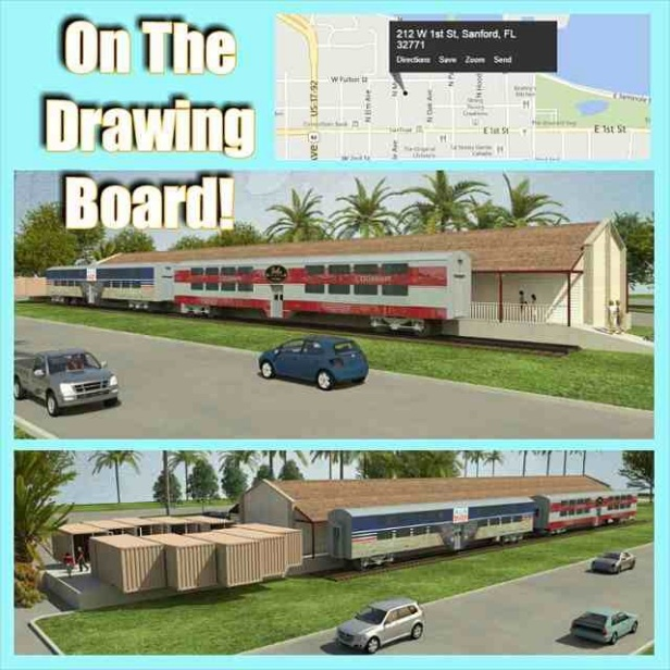 A conceptual drawing of a proposed indoor market at Sanford's old train  with additional space provided by old shipping containers and railroad cars. Photo credit: ILuv Winter Park (posted on the site's Swarm account)