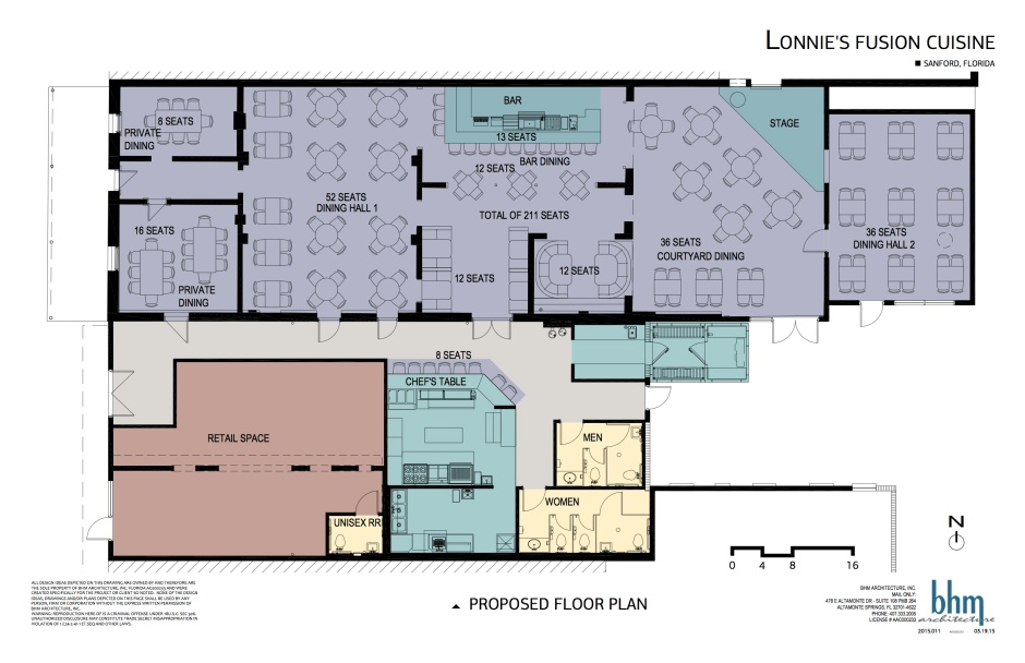 Proposed floor plan for Lonnie's Fusion Cuisine at 113 S. Palmetto Ave. In the drawing, Palmetto Avenue is on the left side, - Plans by BHM Architects Inc.