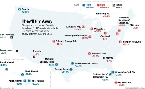 Click to enlarge. Graphic by Wall Street Journal. Data provided by masFlight/OAG