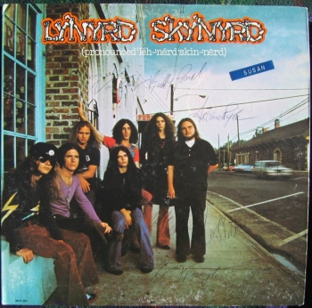 The cover to Lynyrd Skynyrd's debut album. Billy Powell is second from the left, with substantially longer hair than his Sanford Naval Academy days.