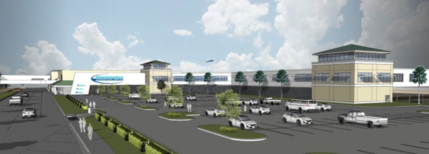 Expansion at Orlando Sanford International Airport will occur primarily on the east end of the terminal. This is an artist's rendering of of what the east side of the terminal will look like as visitors approach the terminal on Red Cleveland Boulevard. Credit - CPH Engineers Inc.