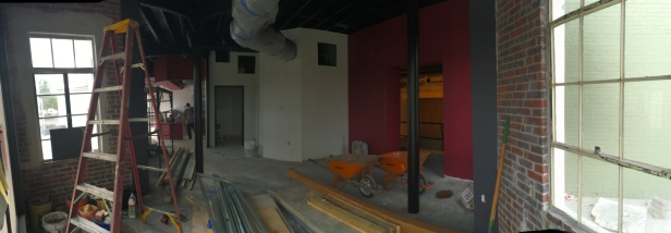 Looking west toward the counter area in the barbecue restaurant.