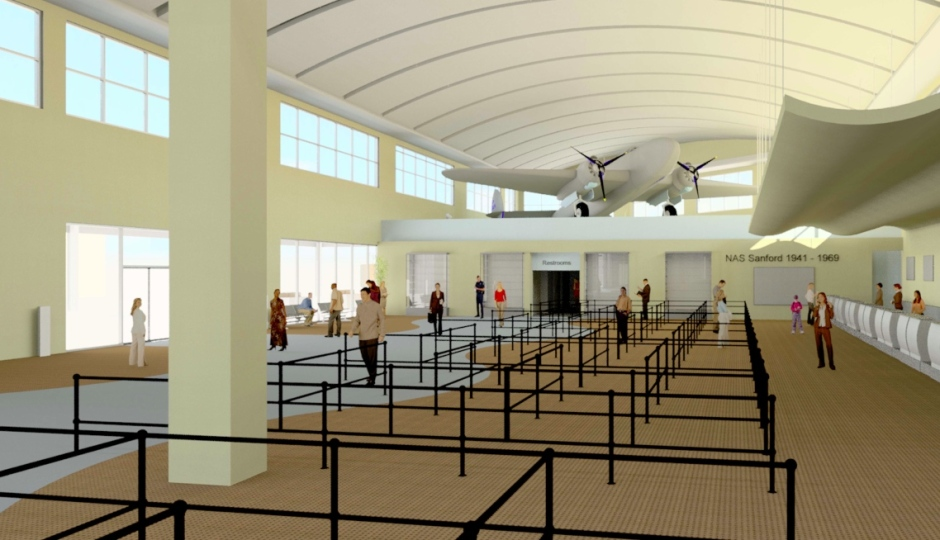 An expanded ticket counter area will feature a refurbished PV-1 Ventura bomber from WWII. The Sanford airport was created in 1942 as Naval Air Station Sanford and was an advanced training base for the PV-1 Ventura.