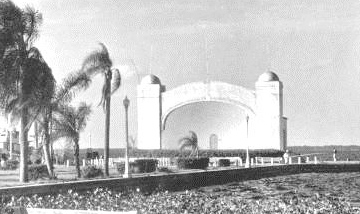 The Sanford bandshell, built in 1927, at the end of Veterans Memorial Park.