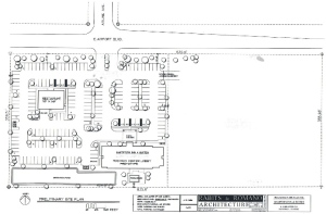 Click to enlarge. Site plan for Hampton Inn.