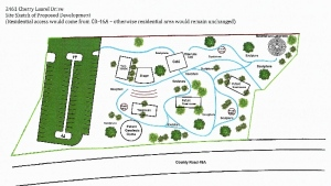 "Click to enlarge. Site plan for The Retreat. Note: the photo at the top of the page is Not from The Retreat, but rather, a project done by  ""The Treehouse Guys,"" in Oahu, Hawaii."