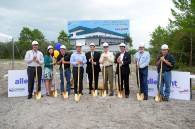 The groundbreaking ceremony for Allegiant Airline's new East Coast training center was attended by (left to right) Airports Worldwide President Larry Gouldthorpe, Sanford Airport Authority (SAA) President Diane Crews, SAA Board Member Steve Smith, Lt. Governor Carlos Lopez-Cantera, Congressman John Mica, Allegiant CEO Maury Gallagher, SAA Board Chair Frank Ioppolo, SAA Board Member Bill Miller, SAA EVP George Speake