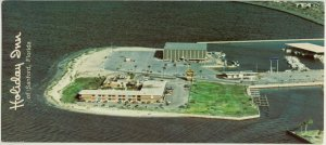 Click ror larger image. Postcard from Holiday Inn shows what Marina Island looked like after construction.