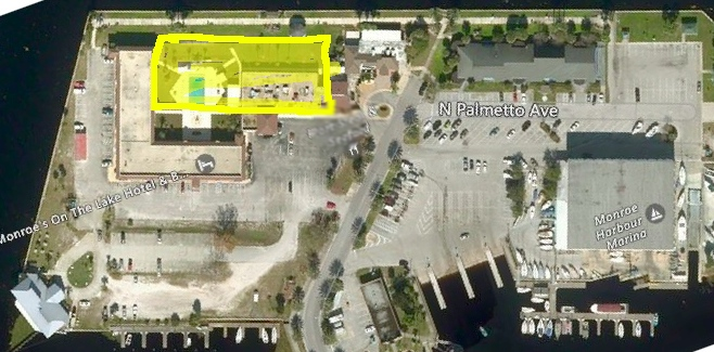 Aerial view of Marina Island. The yellow box is approximately where the proposed ALF would be located.