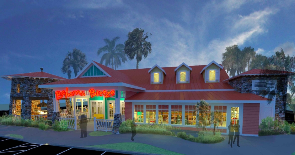 A rendering of the the what the proposed Bahama breeze would look like. This is a the front, which will face north toward Garnet Lane.
