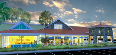A rendering of the the what the proposed Bahama breeze would look like. This is the side view, as would be seen from Rinehart Road.