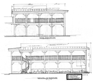 Click to enlarge. Top: View standing on Oak Avenue looking west; Bottom: View standing on 2nd Street looking south. Credit: Allen Arthur Architect