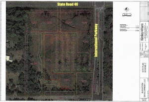 Click to Enlarge. Preliminary site plan for a retail development at the southwest corner of S.R. 46 and International Parkway. Credit: Kimley-Horn