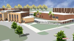 Click to enlarge. Rendering of the new Millennium Middle School. Credit: SchenkelShultz Architecture